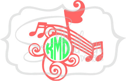 Music Note Border Monogram