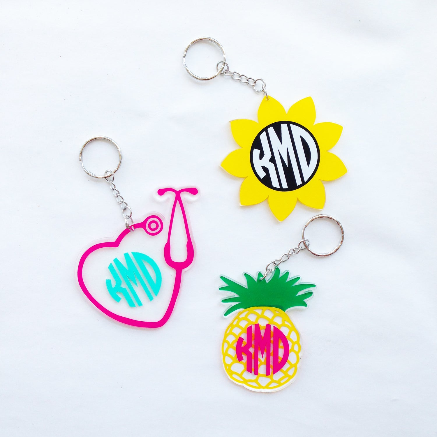 Monogram Sunflower Keychain