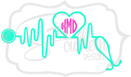 Nurse Heartbeat Monogram