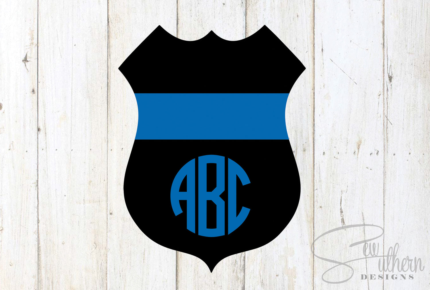 Police Badge Thin Blue Line Monogram