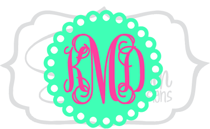 Scallop Polka Dot Monogram