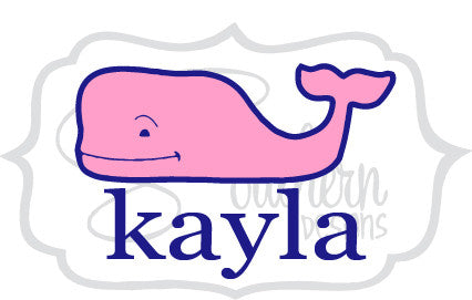 Two Color Whale with Name