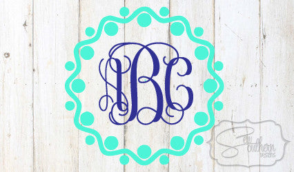 Wavy Dots Border Monogram Decal