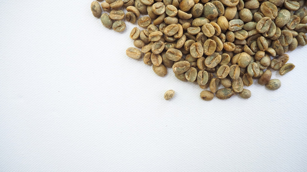 Green Coffee Beans with White Background