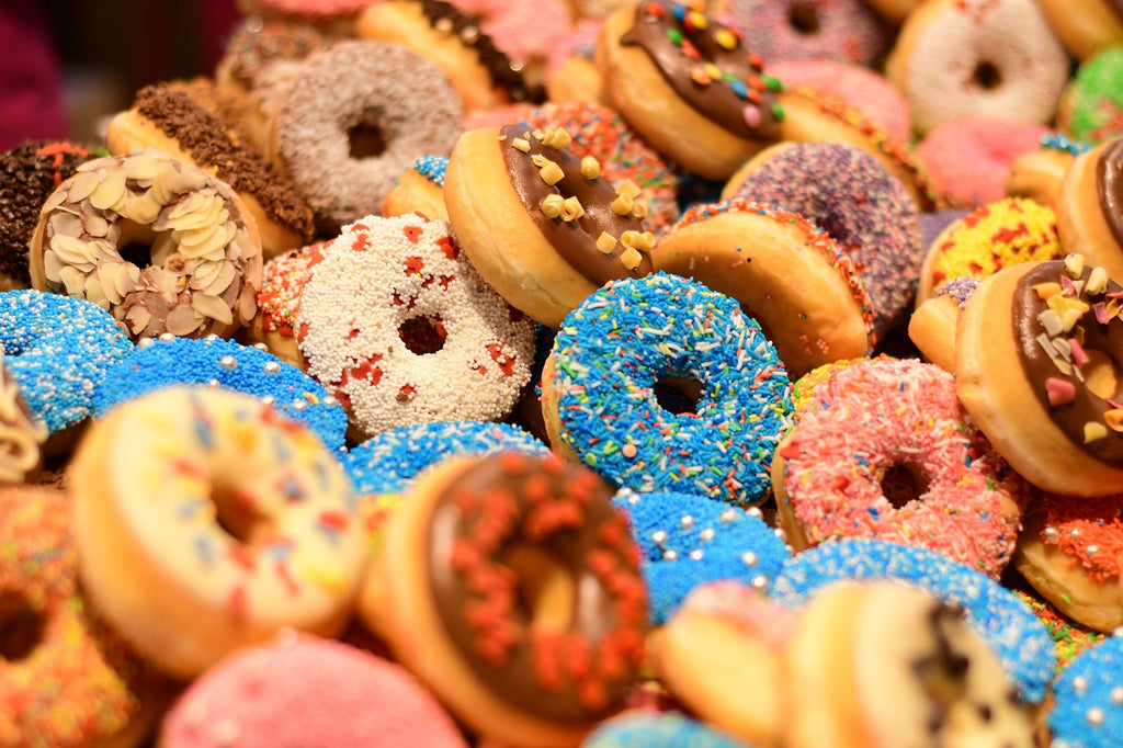 Assortment of colorful donuts