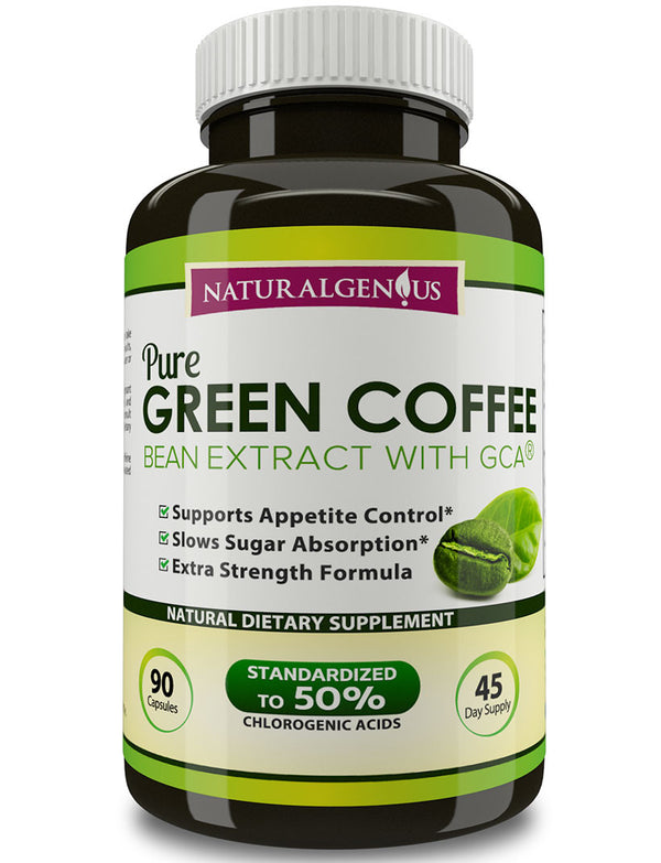 100% Pure Green Coffee Bean Extract with GCA®, True 45-Day Supply/Bottle