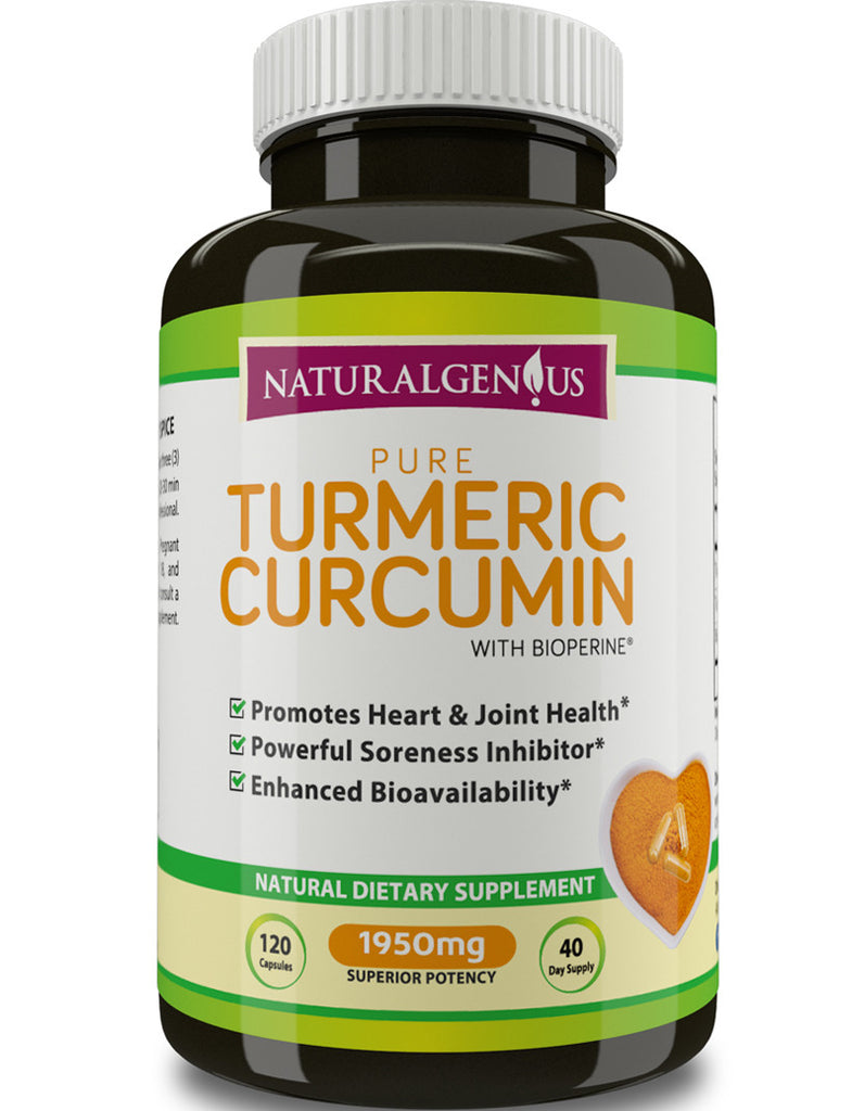 Turmeric Curcumin With BioPerine®, Black Pepper Extract - 1950mg, True 40-Day Supply/Bottle