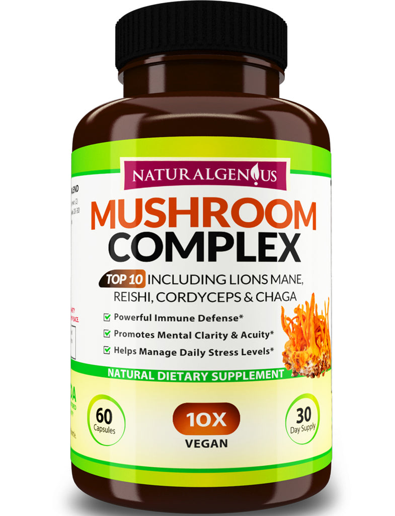 Top 10 Immune Support Mushroom Complex - Lions Mane, Cordyceps, Chaga, Reishi, Turkey Tail, Shiitake, Maitake, Agaricus, White Button, Black Fungus 60 ct