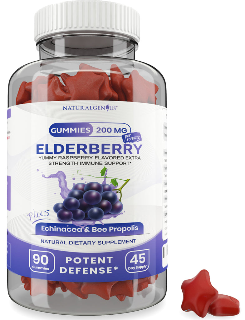 Black Elderberry Gummies with Vitamin C, Echinacea and Bee Propolis - True 45-Day Supply/Bottle