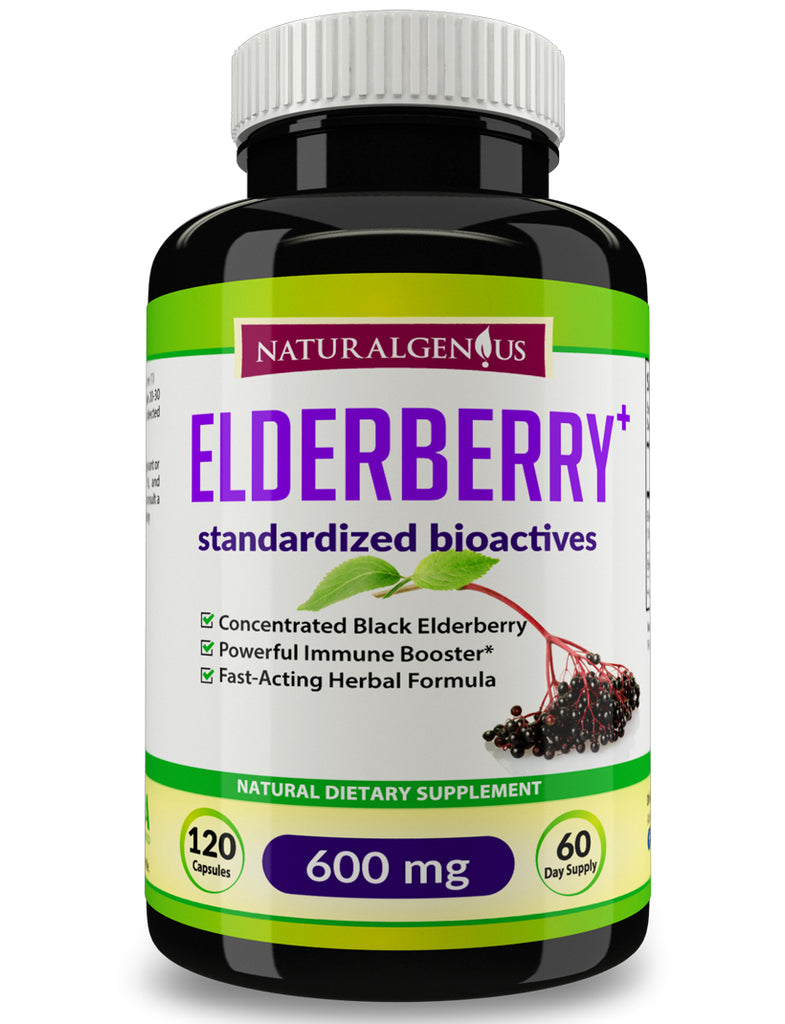 Black Elderberry Capsules - 1200mg Daily - Elderberries Powder Supplement for Adults - True 60-Day Supply/Bottle
