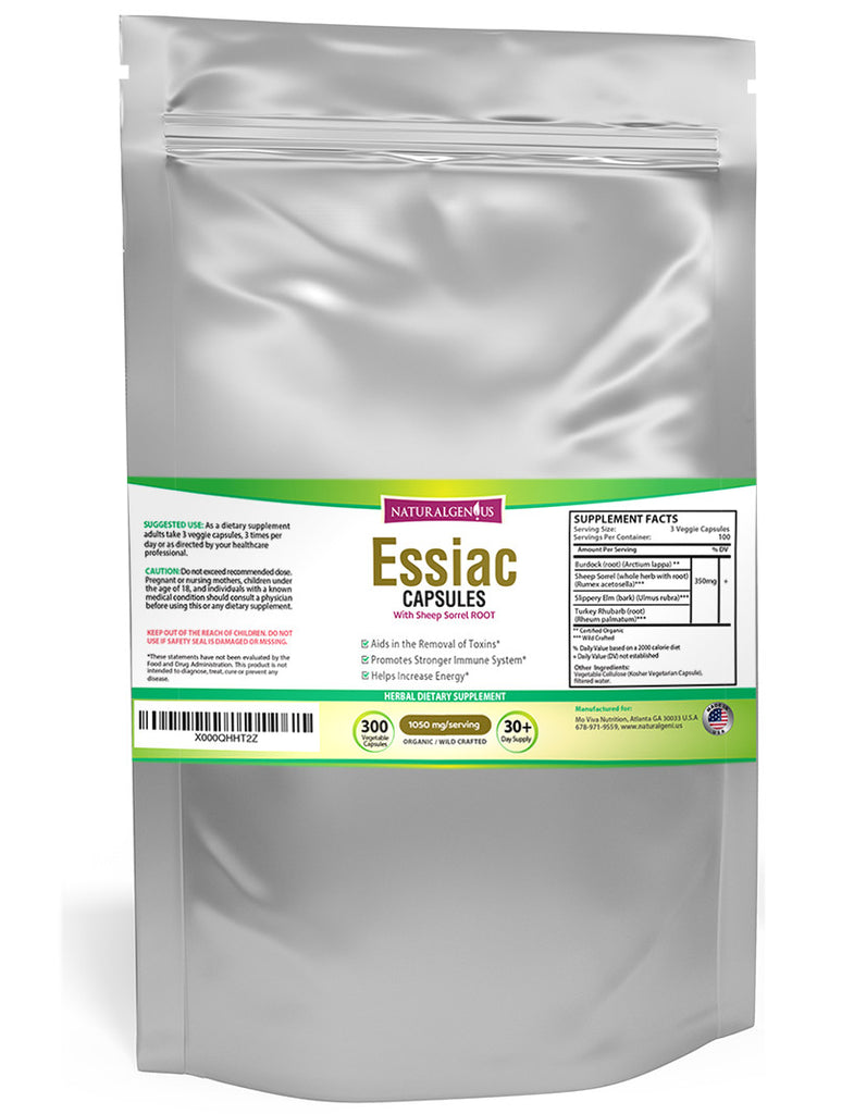 300 Essiac Tea Capsules with Sheep Sorrel Root - Cleanse and Detoxify - Natural Genius  - 1