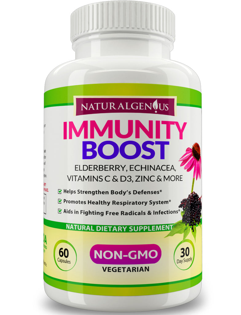 Immunity Boost Capsules with Elderberry, Echinacea, Vitamin C, D3, Zinc, Mg and Cordyceps - Non-GMO Daily Support for Kids and Adults