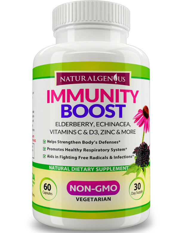 Immunity Boost Capsules with Elderberry, Echinacea, Vitamin C, D3, Zinc, Magnesium and Cordyceps - Non-GMO Daily Support for Kids and Adults - True 30 Day Supply