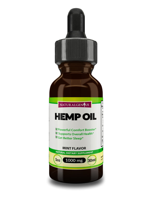 Hemp Oil 1000mg - Premium Extract Formula for Pain Relief, Anxiety & Stress
