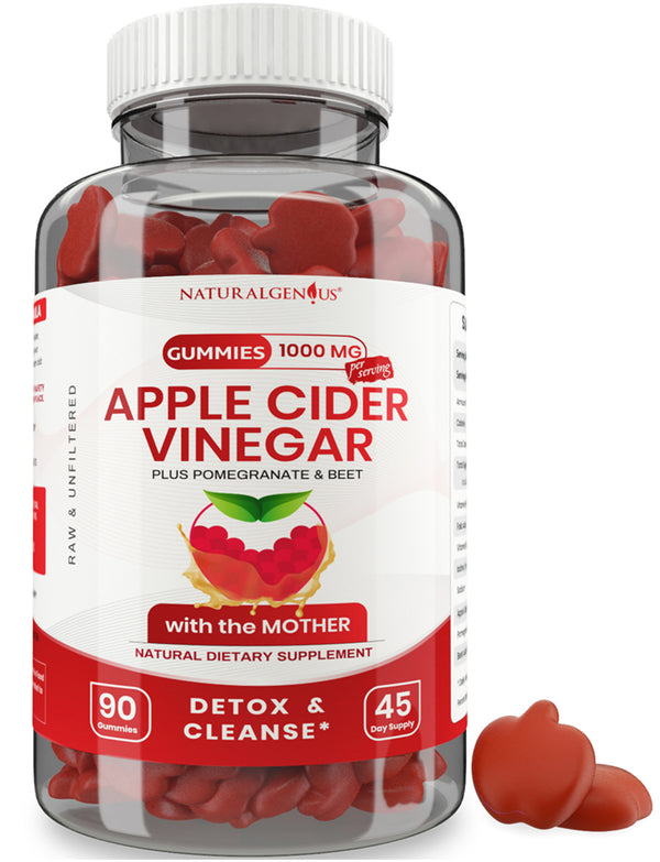 "Vegan Apple Cider Vinegar Gummy - 2X Strength with the ""Mother"" for Kids & Adults - 90 Non-Sticky Gummies"