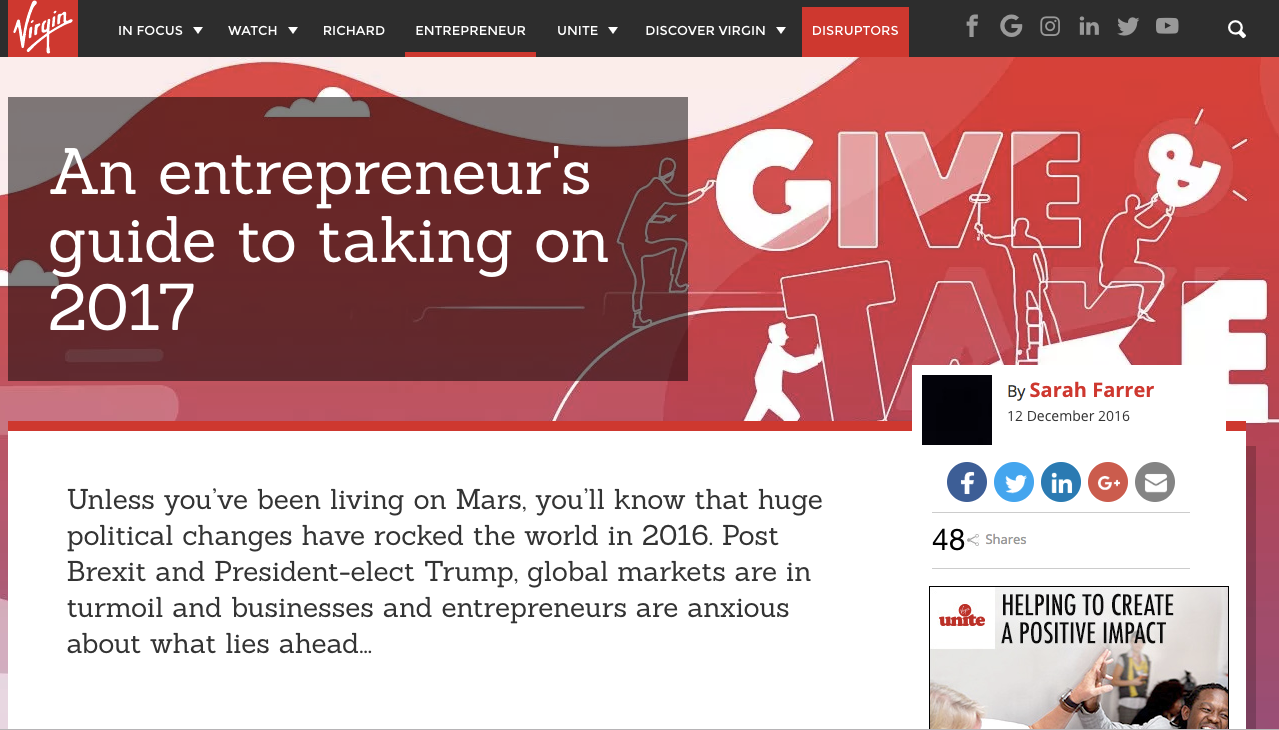 KGW GETS FEATURED ON THE RICHARD BRANSON'S VIRGIN BLOG