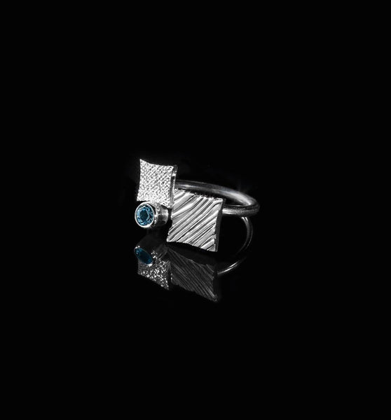 KGW by S.B. | Silver ring Double square - Kristina Goes West  - 2