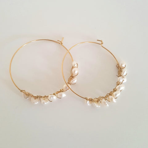 Gold plated and freshwater pearl hoops by KGW Studio KRISTINAGOESWEST.COM – 1