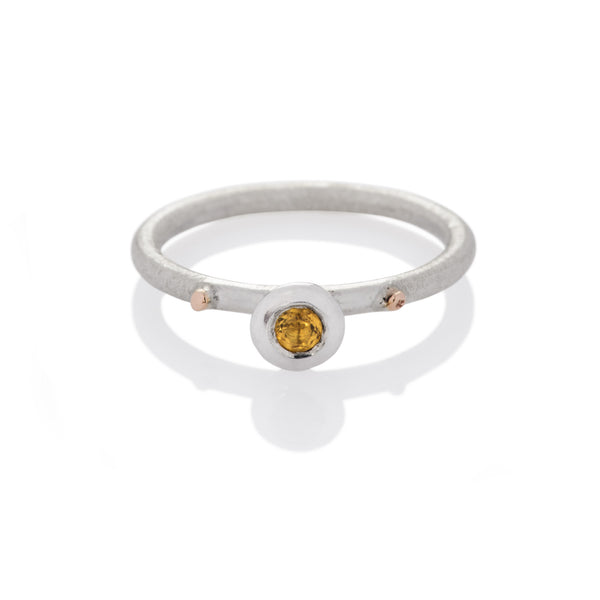 DD Workshop | Brushed silver and gold ring Bud with Citrine stone - Kristina Goes West