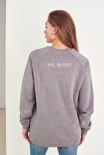 Organic cotton oversized jumper babe on a mission in grey by Babe Universe | KRISTINAGOESWEST.COM – 3