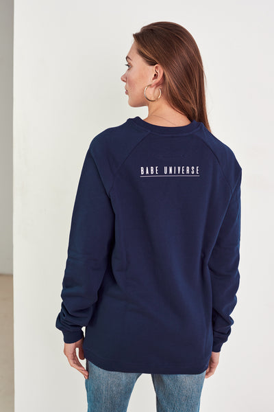 Organic cotton designer jumper Au Naturel in navy blue by Babe Universe | KRISTINAGOESWEST.COM – 3