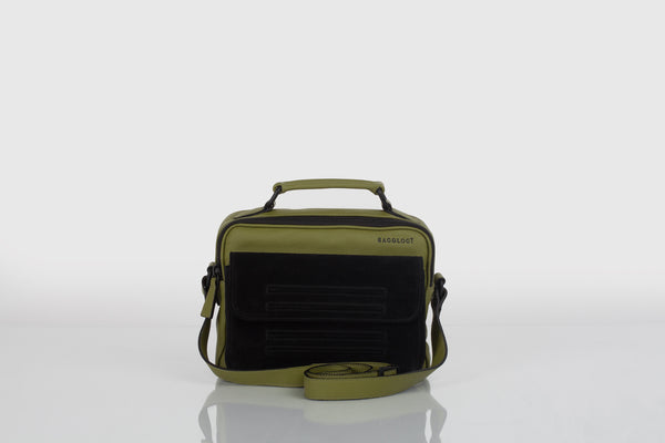 Small designer shoulder bag in olive green and black by Bagology London for Kristina Goes West - 2