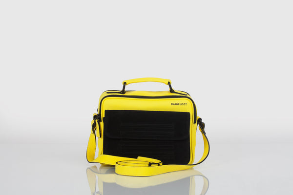 Small designer shoulder bag in yellow and black by Bagology London for Kristina Goes West - 2