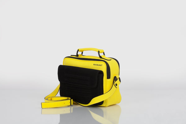 Small designer shoulder bag in yellow and black by Bagology London for Kristina Goes West - 1