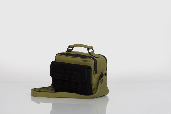 Small designer shoulder bag in olive green and black by Bagology London for Kristina Goes West - 1