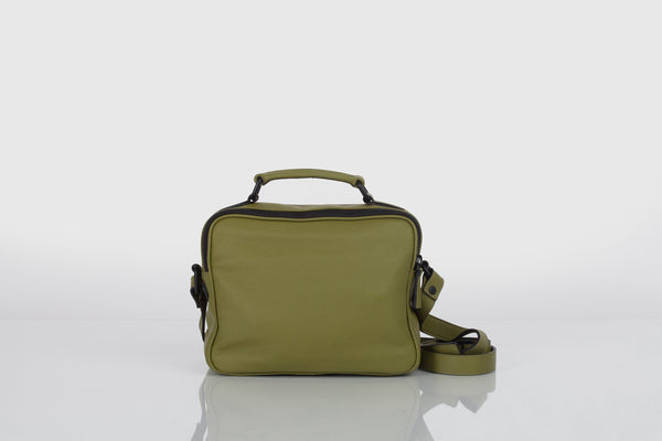 Small designer shoulder bag in olive green and black by Bagology London for Kristina Goes West - 3