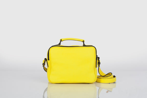 Small designer shoulder bag in yellow and black by Bagology London for Kristina Goes West - 3