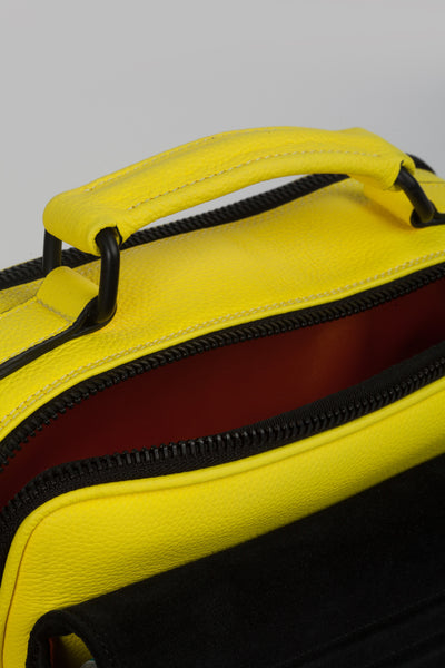 Small designer shoulder bag in yellow and black by Bagology London for Kristina Goes West - 4
