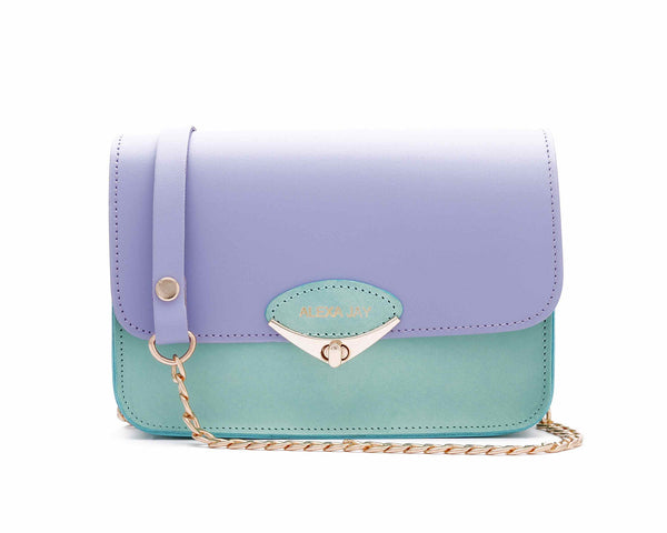 Mini lilac and mint chain clutch by Alexa Jay | KRISTINAGOESWEST.COM - 1