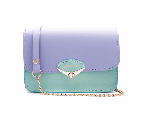 Alexa Jay | Mini lilac and mint chain clutch - Kristina Goes West  - 1