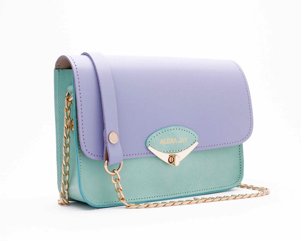 Mini lilac and mint chain clutch by Alexa Jay | KRISTINAGOESWEST.COM - 2