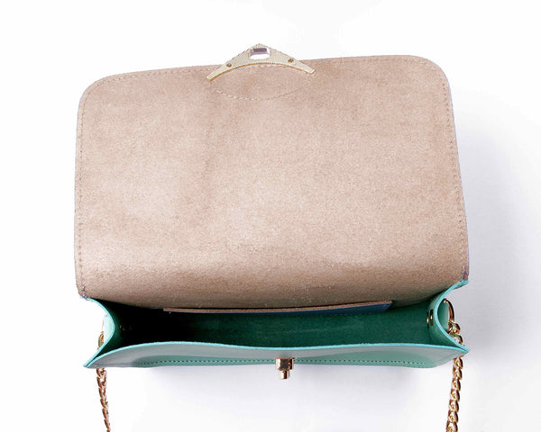 Alexa Jay | Mini lilac and mint chain clutch - Kristina Goes West  - 4