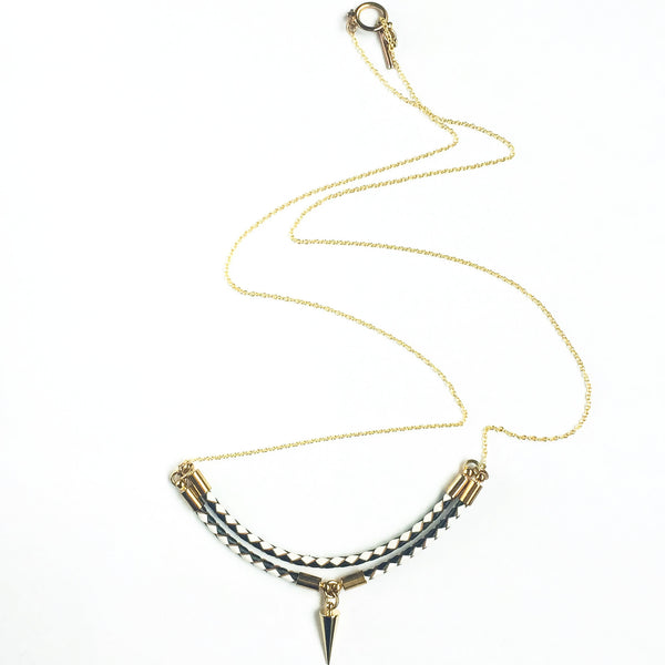 Leather and 14k gold plated silver necklace Viperta | KRISTINAGOESWEST.COM  - 1