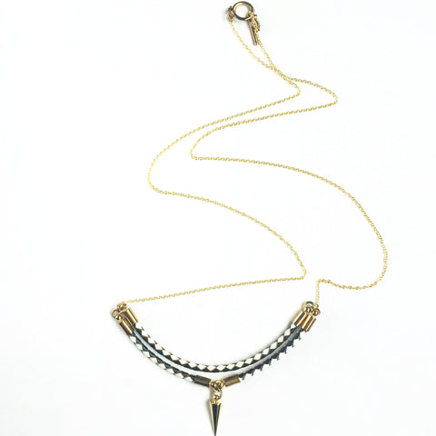 KGW Private Label | Leather and 14k gold plated silver necklace Viperta - Kristina Goes West  - 1