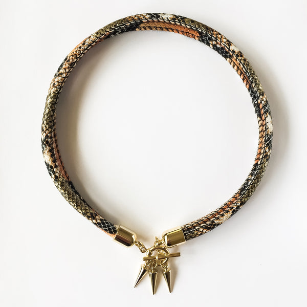 Two-in-one burnt orange snake effect leather choker and double bracelet | KRISTINAGOESWEST.COM  - 2