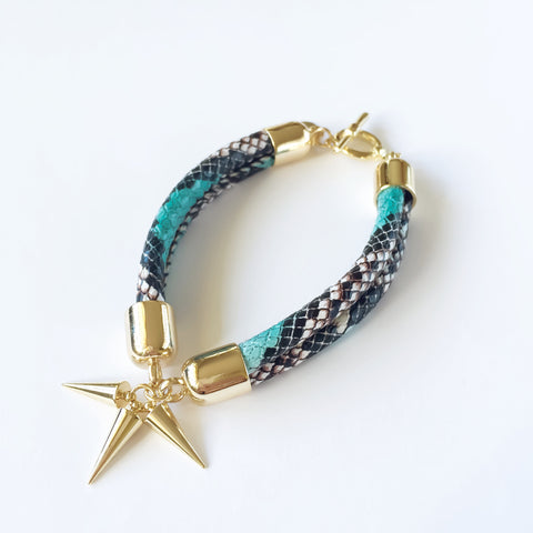 KGW Private Label | Turquoise snake effect leather bracelet - Kristina Goes West  - 1