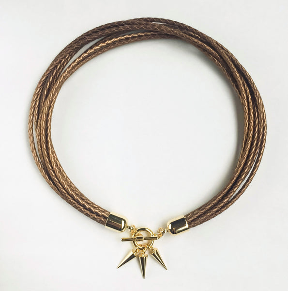 Two-in-one bronze leather choker and double bracelet | KRISTINAGOESWEST.COM  - 1