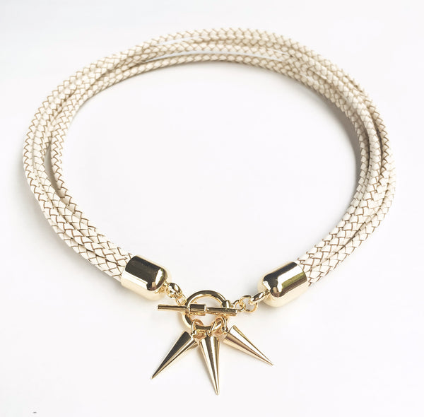 Two-in-one white natural leather choker and double bracelet | KRISTINAGOESWEST.COM  - 2
