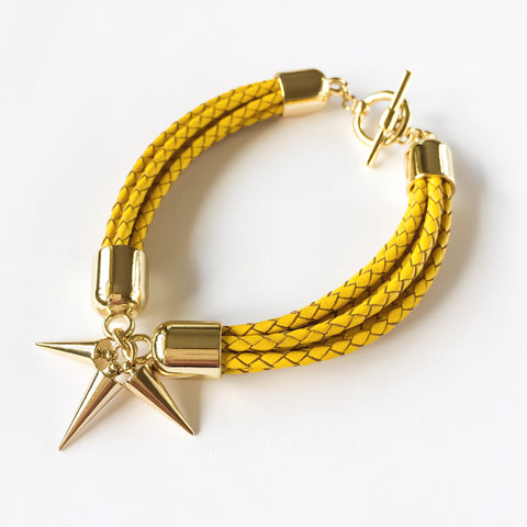 KGW Private Label | Yellow leather bracelet - Kristina Goes West  - 1