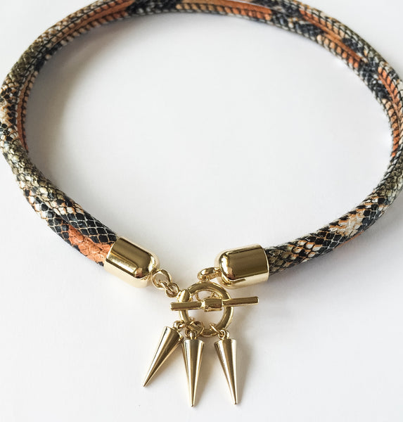 KGW Private Label | Two-in-one burnt orange snake effect leather choker and double bracelet - Kristina Goes West  - 3