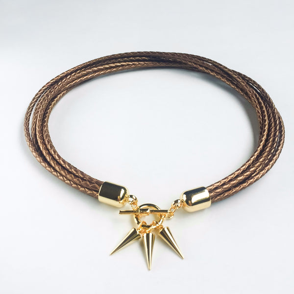 Two-in-one bronze leather choker and double bracelet | KRISTINAGOESWEST.COM  - 2