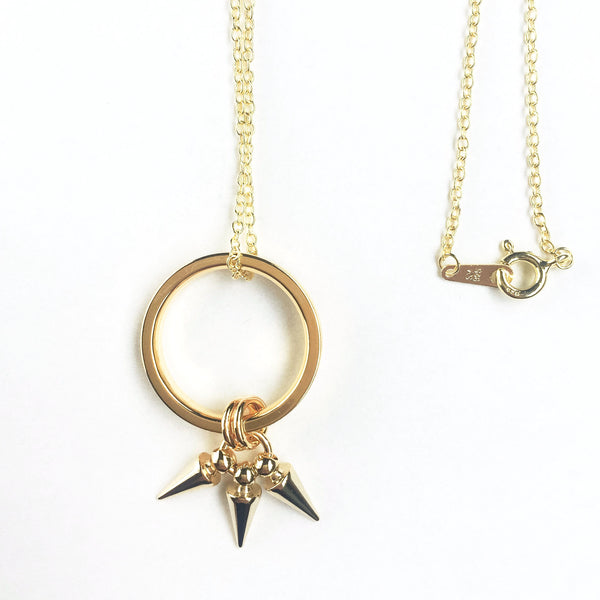 Two-in-one 14k gold plated silver necklace with a removable ring pendant | KRISTINAGOESWEST.COM - 2