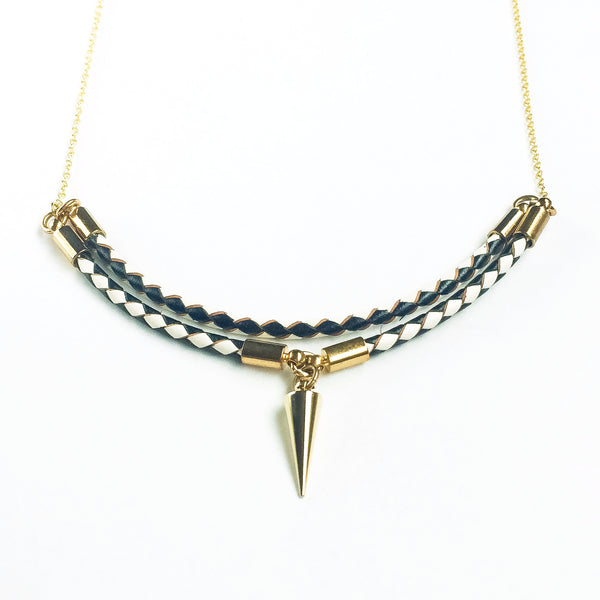 Leather and 14k gold plated silver necklace Viperta | KRISTINAGOESWEST.COM  - 2