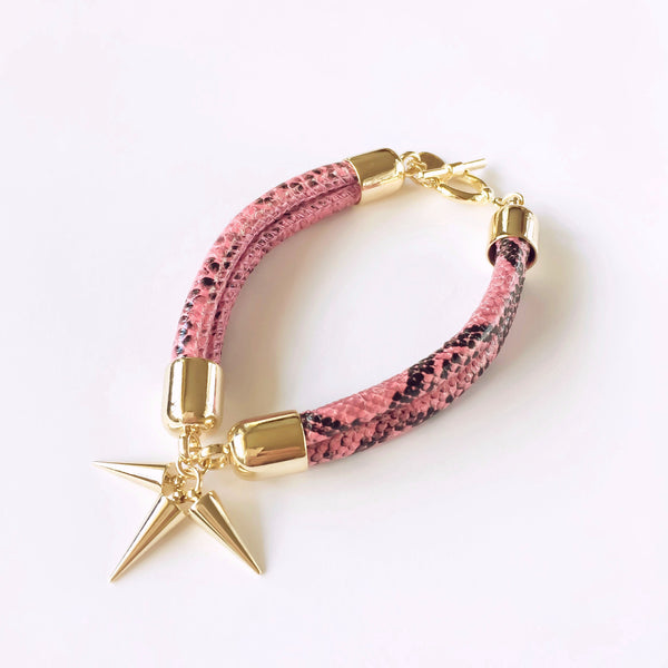 KGW Private Label | Pink snake effect leather bracelet - Kristina Goes West  - 1