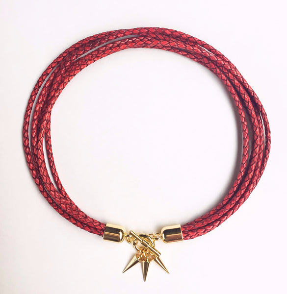 Two-in-one antique red leather choker and double bracelet | KRISTINAGOESWEST.COM - 2