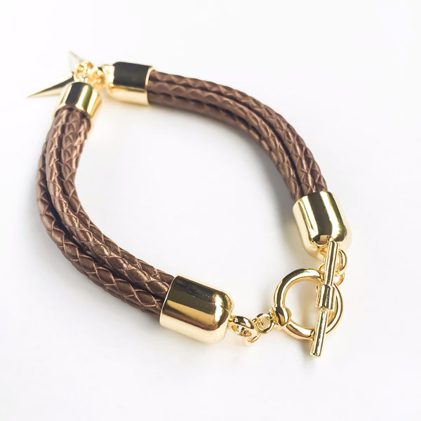 Bronze natural leather bracelet | KRISTINAGOESWEST.COM - 3